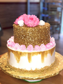 Model# 32003 Peony Cake with Gold Confetti Quins