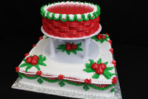"2 tier cake 10"" & 3/4 sheet squared serves approx 75-100 people cream decorations!!!"