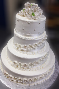 Model# 24003 - 4 Tier All White with Sugar Flowers