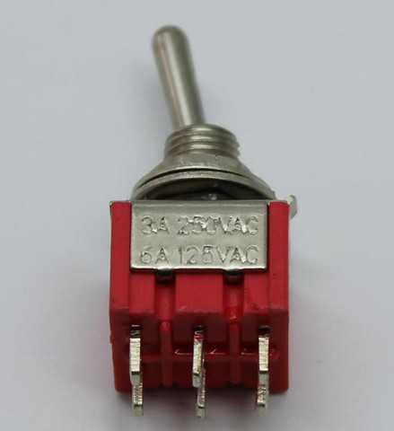 Double Pole Double Throw (DPDT) Mini Toggle Switch (On/Off/On)