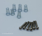 Six Single Coil Screws & Springs, Round Head