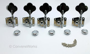 Vintage style bass tuning keys/machine heads, set of 5, left-handed