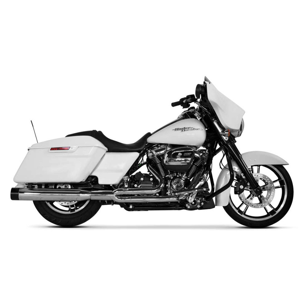 Two Brothers Racing 2-Into-1 Comp-S Exhaust for 2017 Harley Touring - Chrome with Black Tip
