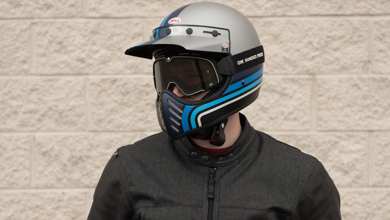 Bell Moto 3 Matte Silver/Black/Blue Stripes Helmet