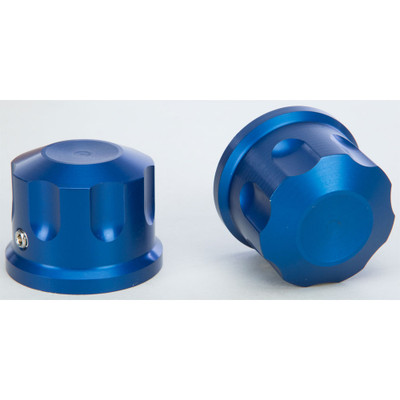 Rooke Customs Front Axle Nut Covers for Harley - Blue