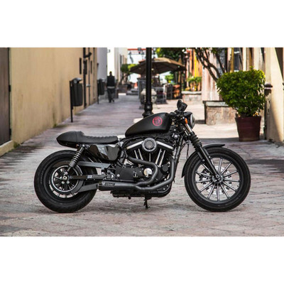 Two Brothers Racing 2-Into-1 Comp-S Exhaust for 2004-2013 Harley Sportster - Black with Carbon Fiber Tip