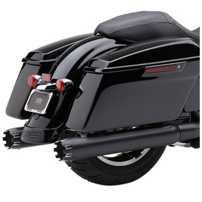 "Cobra 4"" Slip-On Exhaust Mufflers for 1999-2016 Harley Touring - Black w/ Dual Cut Machined Tip"