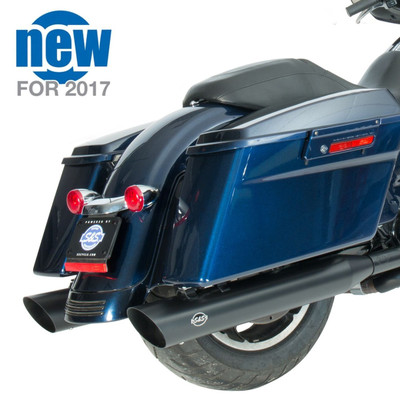 "S&S 4"" Slash Cut Slip-On Exhaust Mufflers for 1995-2016 Harley Touring - Black"