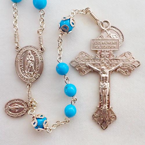 bluebird turquoise rosary, arizona turquoise rosary, real turquoise rosary