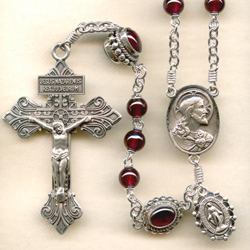 real garnet rosary, custom garnet rosary, sacred heart rosary