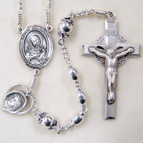 Sterling Silver Rosary, oval rosary