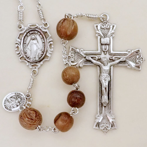 robles wood rosary, walnut wood rosary