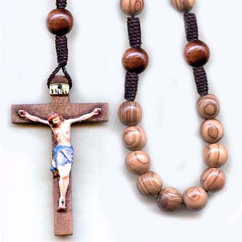 Cord rosary, wood rosary, knotted rosary