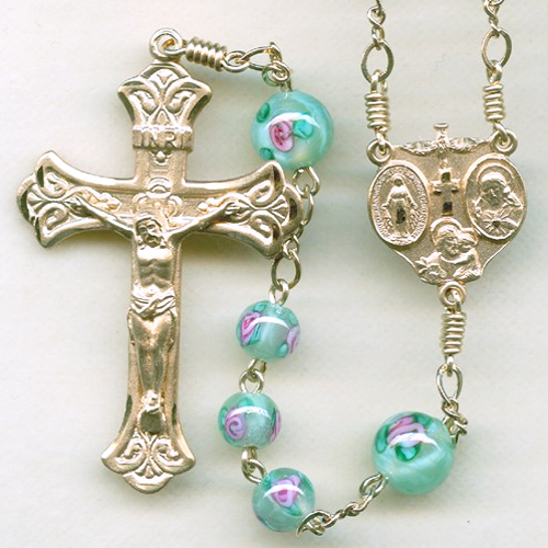 Czech lampwork rosary, mint green rosary