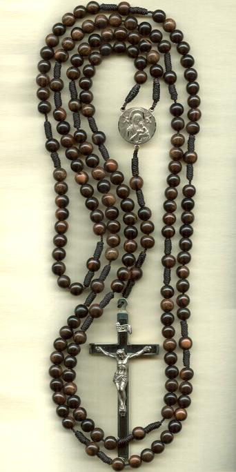 15 dcade rosary, knotted cord rosary, ebony, fifteen decade rosary