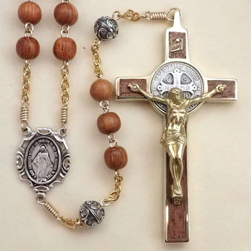 two-tone, wood st. benedict rosary