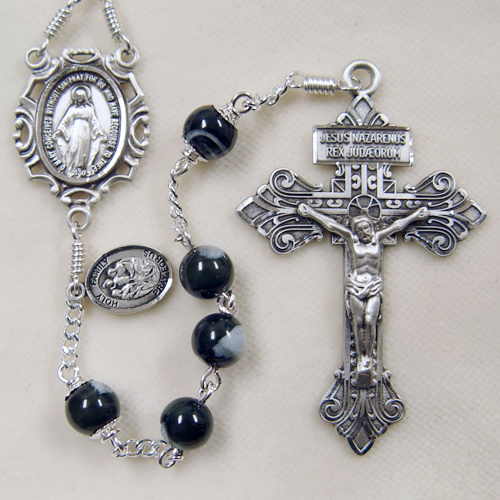Black Mother of Pearl Rosary, Men's Rosary