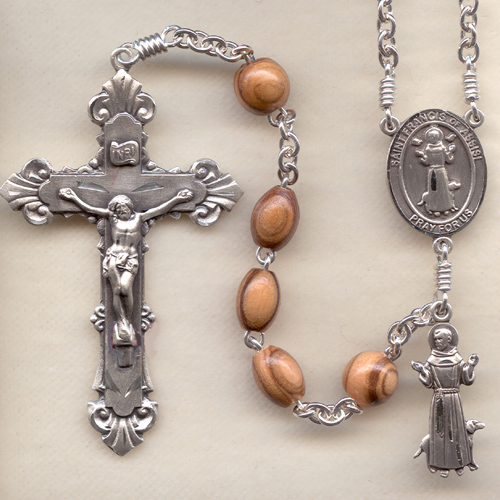 oval olive wood rosary, St. Francis Rosary