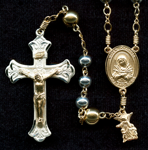 Silver and gold rosary, two-tone rosary