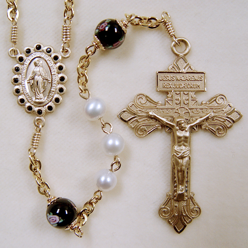 freshwater pearl, real pearl rosary, gold rosary