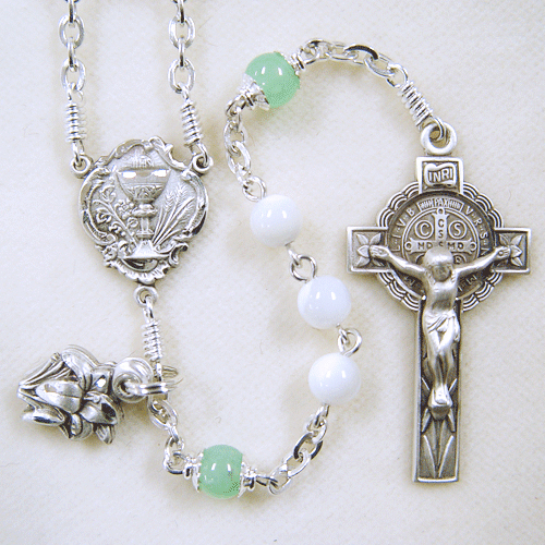 Mother of pearl rosary, first communion rosary