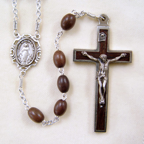 oval tiger ebony rosary, wood rosary