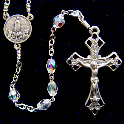 our lady of fatima rosary, crystal rosary