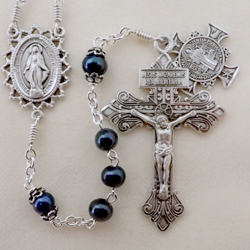 freshwater pearl rosary, black pearl, ravenwing