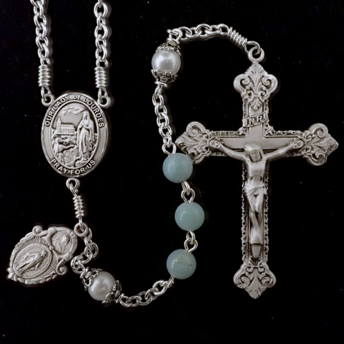 Amazonite rosary, our lady of lourdes rosary