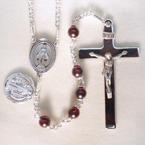 simple rosary, garnet rosary