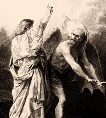 Christ expells satan, begone satan