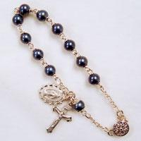 black pearl rosary bracelet