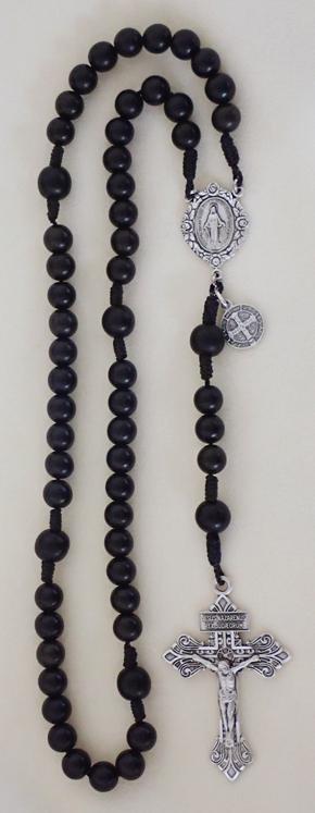 ebony cord rosary, knotted cord rosary