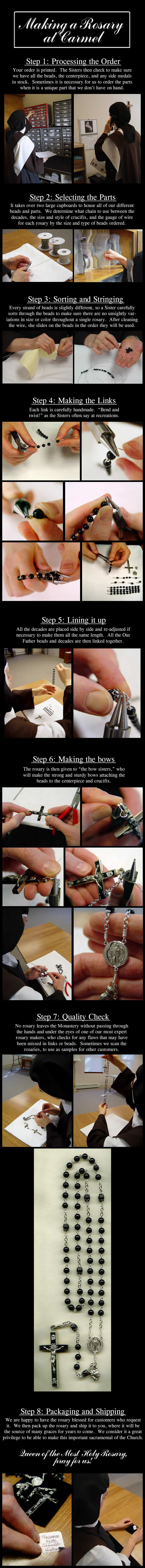 making a rosary, rosary made by sister, rosary making process, steps