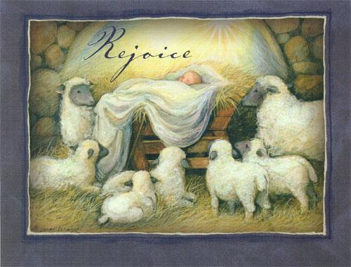 Infant in Manger Christmas Card