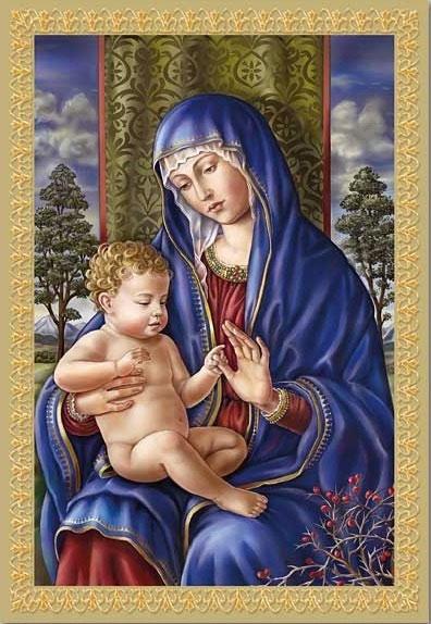 Madonna and Trees Christmas Card