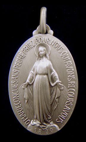 miraculous medal, orginal french miraculous medal, with french inscription