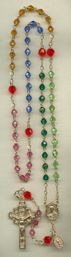 multi-colored rosary, birthstone rosary