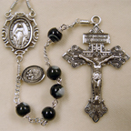 black mother of pearl rosary, father's day rosary, men's rosary, black rosary