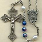 Blue Lampwork Rosary
