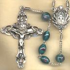 Aqua Oval Lampwork Rosary