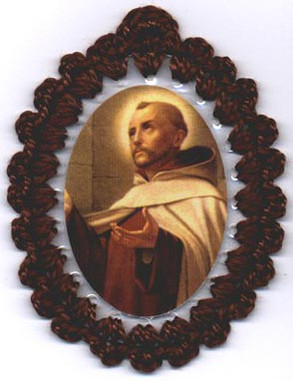 Crocheted relic badges of St. John of the Cross, badge of St. John of the Cross with relic, cloth touched to the relic of the saint