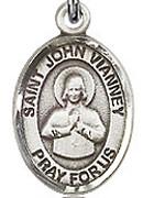 "St. John Vianney - .50"" Oval - Sterling Silver Side Medal"