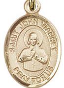 "St. John Vianney - .50"" Oval - Gold Filled Side Medal"