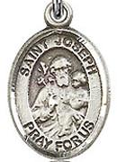 "St. Joseph  - .50"" Oval - Sterling Silver Side Medal"