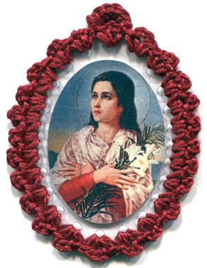 Crocheted relic badges of St. Maria Goretti, Lily of Purity, Patroness of Youth, badge of St. Maria Goretti with relic, cloth touched to relic