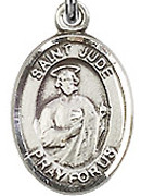 """St. Jude Thaddeus - .50"""" Oval - Sterling Silver Side Medal"""