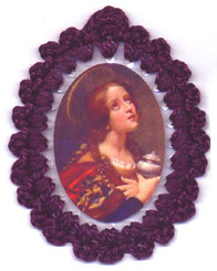 Crocheted relic badges of St. Mary Magdalen, badge of St. Mary Magdalen, Patron of Penitents, with relic, cloth touched to the relic of the saint