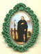 Crocheted relic badges of St. Peregrine, badge of St. Peregrine, Patron of Cancer Sufferers, with relic, cloth touched to the relic of the saint