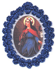 Crocheted relic badges of St. Philomena, badge of St. Philomena, Wonderworker, with relic, cloth touched to the relic of the saint